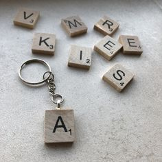 Wooden initial scrabble Keyring Comes in gift bag great for gift giving Can be made into a necklace or Keyring Scrabble Letter Crafts, Scrabble Tiles, Cool Things To Make, Things To Sell, Wooden Initials, Handmade Items, Handmade Gifts, Sell On Etsy, Make And Sell