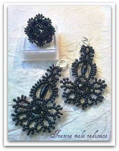 Ivanina mala radionica - Delicate beaded lace earrings