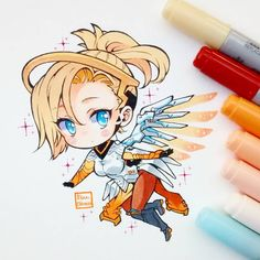 Mercy from Overwatch so amazing Anime Chibi, Kawaii Chibi, Cute Chibi, Kawaii Art, Kawaii Anime, Overwatch Mercy, Overwatch Fan Art, Copic Drawings, Kawaii Drawings