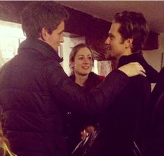 Well, I just teared up a little... Eddie Redmayne congratulating Aaron Tveit after his performance in Assassins in London.  MARIUS AND ENJOLRAS TOGETHER AGAIN.