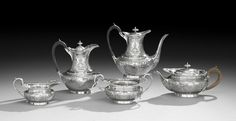 Assembled Five-Piece Edwardian and Later Sterling Silver Tea and Coffee Set hallmarked London, 1902-1903, by Reid & Sons,