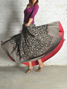 BW Block Print Kalidar Cotton Skirt - Free Size