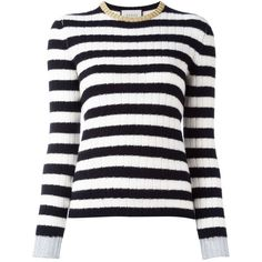 Gucci Striped Sweater With Golden Tone Collar ($725) ❤ liked on Polyvore featuring tops, sweaters, shirts, blusas, long sleeves, black, striped jumper, long sleeve jumper, long sleeve stripe shirt and striped shirt