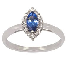 925 Sterling Silver Ring Natural Tanzanite 7x3.5mm Faceted Cut Marquise with Beautiful White Topaz Marquise- Natural Tanznaite Ring