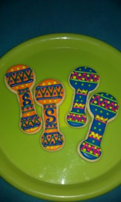 Fiesta Maracas...sugar cookies decorated with royal icing!