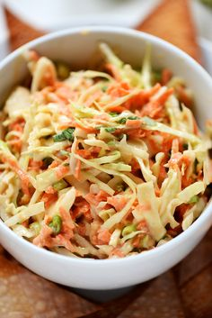 Creamy Thai Slaw (Minimalist Baker): lime juice, ginger, soy sauce, chili garlic sauce, sesame oil, honey, yogurt, peanut butter.