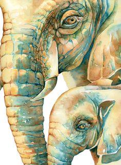 Mamá y bebé o papá y bebé acuarela elephant por TheDailyWatercolor