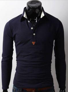 Men Fashion Individual Necessary Casual Lapel Design Slim Long Sleeve Navy Cotton Polo Shirt M/L/XL@S5-5953-1n