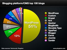 WordPress is used by 52% of the top 100 blogs.