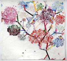 Reed Anderson - Nuppet Tree, for E. 2010 – 84 x 90 inches – acrylic, airbrush, silkscreen and collage on cut paper Museum Art Gallery, Art Museum, Northern California, Flower Power, Concept, Fancy, My Love, Drawings, Illustration