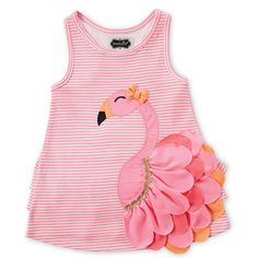 Pink Stripe Flamingo Dress - Toddler