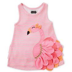 Pink Stripe Flamingo Dress - Toddler