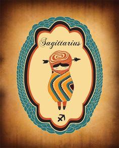 Sagittarius Astrological Sign Art Print, Sagitarius Constellation Poster 8x10 Sagittarius Zodiac Sign Illustration Artwork. $19.00, via Etsy.