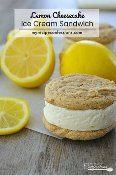 Lemon Cheesecake Ice Cream Sandwiches Lemon Cheesecake Ice Cream Sandwich is a sweet and refreshing dessert. The lemon ice cream is sandwiched between two soft and chewy graham cookies. This recipe is not only delicious, it's very easy to make too! Lemon Cheesecake Recipes, Cheesecake Ice Cream, Ice Cream Desserts, Lemon Recipes, Frozen Desserts, Ice Cream Recipes, My Recipes, Summer Cheesecake, Lemon Desserts