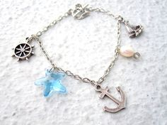 Sea Charm Bracelet Nautical Jewelry Anchor Bracelet by pearlatplay, $26.40