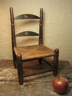 Fabulous Early Old Folk Art Ladderback Doll Chair w/ Rush Seat  from Hannahs House Antiques on Ruby Lane