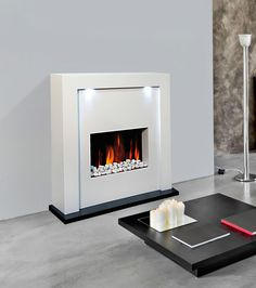 JollyVault New Designer Free Standing Electric Fire Fireplace White Mdf Room, Grey And Yellow Living Room, Fireplace Lighting, Living Room Flooring, Room Inspiration, House Interior, Fireplace, Fire Surround, Fireplaces Uk