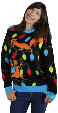 5468387bd4 Ugly Christmas Sweater  Squirrelly Christmas Lights Christmas Coal