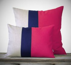 Color Block Pillow Set - Hot Pink, Navy and Natural Linen by JillianReneDecor - Colorblock Striped Trio - (1) 12x16 (1) 20x20