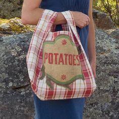 Burlap Potatoes Applique Red Plaid Market Bag by CreationsReNew