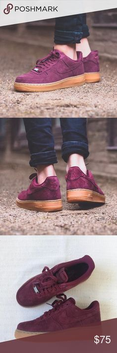 Women's Nike Air Force 1 '07 Low Suede Sneakers Women's Nike Air Force 1 '07 Low Suede Sneakers. Genuine leather and textile upper with a padded ankle collar provides a comfortable fit. Style/Color: 749263-600 • Women's size 8.5 • NEW in box (no lid) • No trades •100% authentic Nike Shoes Sneakers