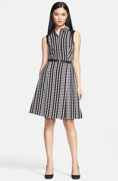 Free shipping and returns on Tory Burch 'Katy' Stretch Silk Fit & Flare Dress at Nordstrom.com. Neutral polka dots vertically stripe a collared button-front dress cut from fine stretch-silk georgette.