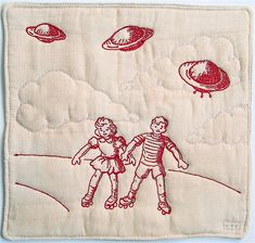 Victoria Gertenbach - Invasion - Embroidery,  redwork. Inspired by 1950's si-fi themes.