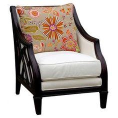 "Highlighting open latticework sides with a rich dark finish, this British Colonial-style arm chair adds a plush finishing touch with down-blend cushioning. Construction Material: Wood, fabric and down-fillColor: WhiteDimensions: 38"" H x 30"" W x 30"" DCleaning and Care: Wipe with damp clothShipping: This item ships with our Room of Choice Delivery Service, so you will receive a call after the item ships to set up a time CArmen ARm Chair"