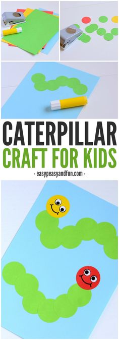 Caterpillar Craft for kids! Made from circles! An easy bug craft for spring!