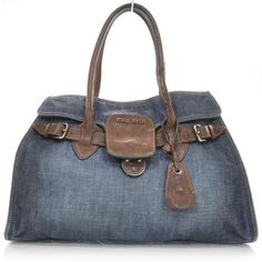MIU MIU Denim and Leather Satchel