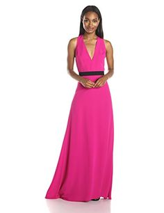 Jill Jill Stuart Women's Sleeveless Belted Deep V Crepe Gown, Hot Pink, 6