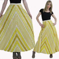 Vintage Hippie Boho Patchwork Skirt Maxi Glam by SHABBYBABEVINTAGE, $125.00