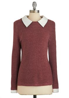 Wine Appreciation Sweater. Learning about varietals and vintages is a full-bodied experience when you sport this earthy-bordeaux, collared sweater. #red #modcloth