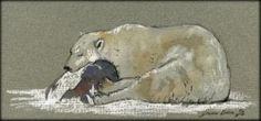 Sleeping Polar Bear Arctic Original Art Watercolor Animal Painting Juan Bosco | eBay
