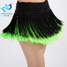 Latin Cha Cha Salsa Samba Rumba Dance Performance Practice Fringed Short Dress Skirt S/M/L for Women Lady 6 Colors