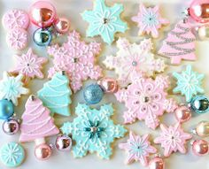 Pink And Blue Christmas Cookies