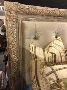 this is headboard, but I LOVE, LOVE, LOVE the ornate wooden details and the color of headboard (don't care for those pillows though) Room Design, Royal Bedroom, Victorian Bed, Diy Headboards, Diy Bed, Creative Furniture, Bedroom Decor, Opulent Bedroom, Soft Decoration