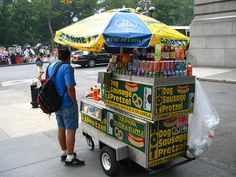 NYC street vendor - the taxi driver told me I haven't been to New York until I had a hot dog from a street vendor.