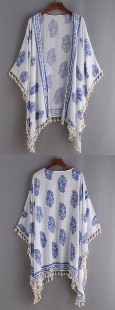 Beach Style - Tassel Trimmed Printed Kimono - romwe.com