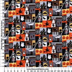 Decorate your home with this adorable Halloween patch cotton fabric.