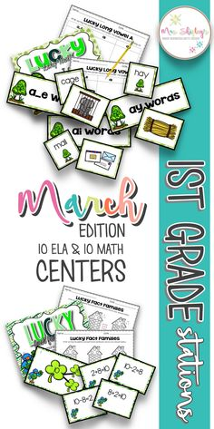 First Grade March centers are a perfectaddition to your small group activities. 10 ELA and 10 MATH stations that are easy to prep and engaging. Centers First Grade, 2nd Grade Ela, 1st Grade Science, 2nd Grade Reading, Math Centers, Math Literacy, Guided Math, Fun Math, Math Teacher
