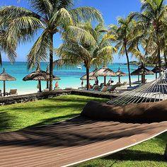 Palm trees, hammock, amazing beach, we are in paradise @ Royal Palm Mauritius. Photo by ronnietclara