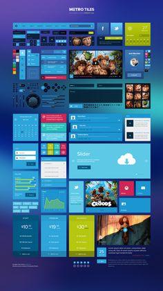 Free Metro Tiles UI Kit #freebies