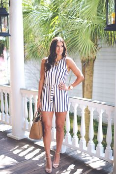 stripe romper, summer fashion, stripe outfit, preppy outfit ideas // grace wainwright from @asoutherndrawl