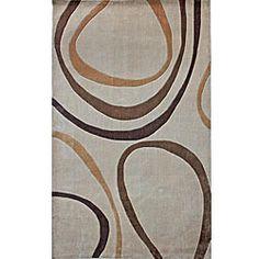 Beige circles nursery rug