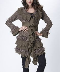 Look what I found on #zulily! Taupe Wool-Blend Lace Ruffle Cardigan - Women #zulilyfinds