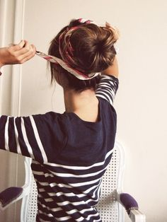 head scarf and sock bun, love this and so cute