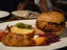 A delicious vegan tofu and mushroom burger from Indigo Deli.  #hungryforever #hungryforeverco #yum #burger #vegan #healthy
