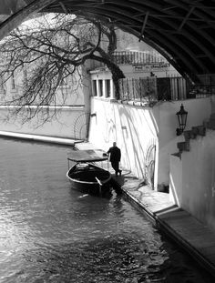 Black and white | Czech Republic | Boat | Travel photo