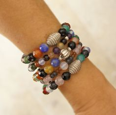 Agate  beaded stretch bracelets, silver plated charms, Set of 3